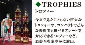 トロフィー 今まで見たこともない巨大なトロフィーや、コンパクトでどんな表彰でも選べるプレートで対応できるトロフィーなど、表彰台を華やかに演出。